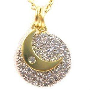 Jewelry - 18KGold Vermeil Pavé Sun & Moon Charm Necklace,NWT
